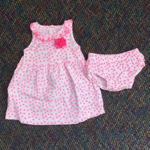 Pink floral sleeveless dress with diaper cover